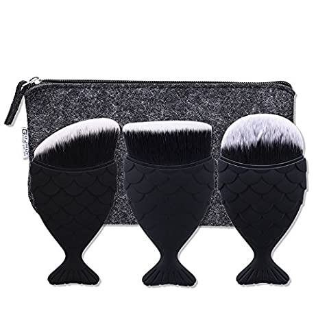 3 PCS Mermaid Makeup Brush, DAXUN Fish Scale Design Fishtail Loose Powder Foundation Blush Concealer Cosmetic Makeup Tool with Oblique Oval Flat Round Head Black + Brush Carrying
