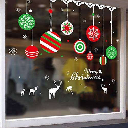 (Neue Fensterglasaufkleber Bekleidungsgeschäft Wandaufkleber Weihnachtsschmuck Ornamente hängende Kugeln)
