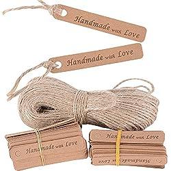 200 Etiquetas de Papel Kraft Handmade with Love (6x1cm) + 40m Cuerda de Yute