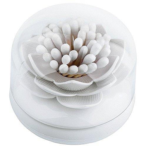 Yiuswoy Lotus Blumen Wattestaebchen Spender Wattestaebchen Halter Aufbewahrung Cotton Box Zahnstocherspender Mit Deckel - Weiss
