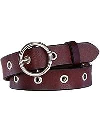 Aszhdfihas Cinturones de Jeans para Mujer Cinturones de Cuero Genuino  clásico con Hebilla de Metal Cinturón 3a4b3874400c