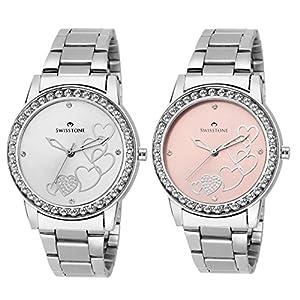 Swisstone Analogue Silver Dial Women's & Girl's Watch Combo -Cmb236-Slv-Pnk