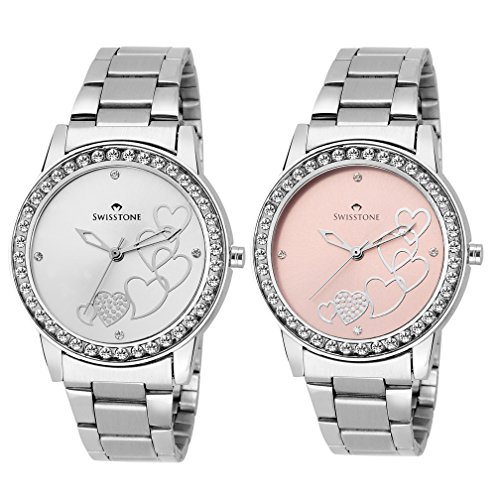 Swisstone Analogue Silver Dial Women's & Girl's Watch Combo -Cmb236-Slv-Pnk