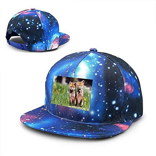 Unisex Fox Couple Grass Galaxy Hip Hop Snapback Sombrero de ala Plana Gorras de béisbol Azul