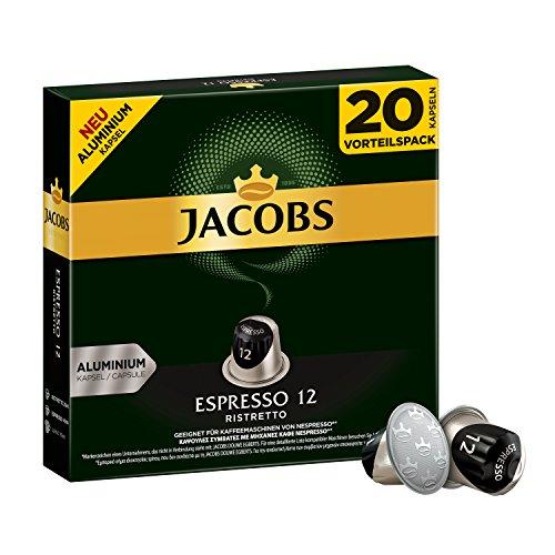 Jacobs Kapseln Espresso Ristretto - Intensität 12 -  200 Nespresso®* kompatible Kaffeekapseln aus Aluminium (10 x 20 Kapseln) (Aroma Expresso Maschine)