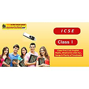 Class First (I st) ICSE Board USB Pendrive Course (Engilsh Maths Hindi EVS) with FUN Songs Plenty of FUNSHEETS All Lessons are Interactive Multimedia Video Lessons with multiple Questions on the Basis of ICSE Evaluation