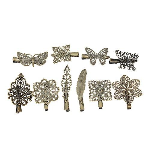 10x Barrettes Pinces Clips à Cheveux Décorer Fleur Papillon Bronze Coiffure