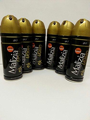 6x 200ml Malizia Gold Uomo Maxi Deo Spray (Malizia Deo Spray)
