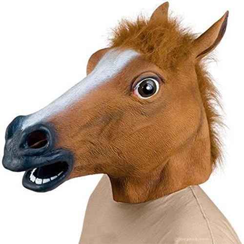 Da.Wa Pferdemaske Latex Faux Mane Pferdekopf Maske Halloween Horse Head Mask Tiermaske Pferd - Tragen Halloween-kostüm Kopf