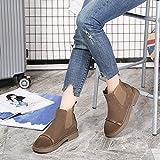 DAMENGXIANG Martin Stiefel Damen Herbst Und Winter Fashion Chelsea Schuhe Britische Retro Niedrigem Absatz Weibliche Schuhe 40 Gelb