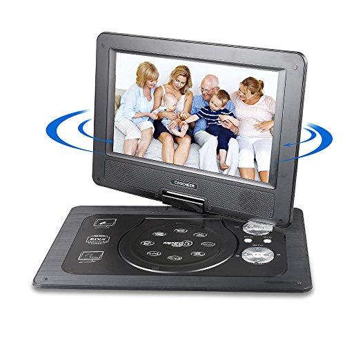 10,1'' Tragbarer DVD-Player mit 5 Stunden Akku Drehbarem Display,Unterstützt SD-Karte USB AV OUT/IN mit 1.8M Auto-Ladegerät und Stromadapter (Schwarz) (10 Zoll Dvd Cd Player Für Auto)