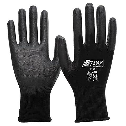 Nitras 6215 Lot de 12 paires de gants en PU Assemblage nylon Noir Taille (9 Guanto)