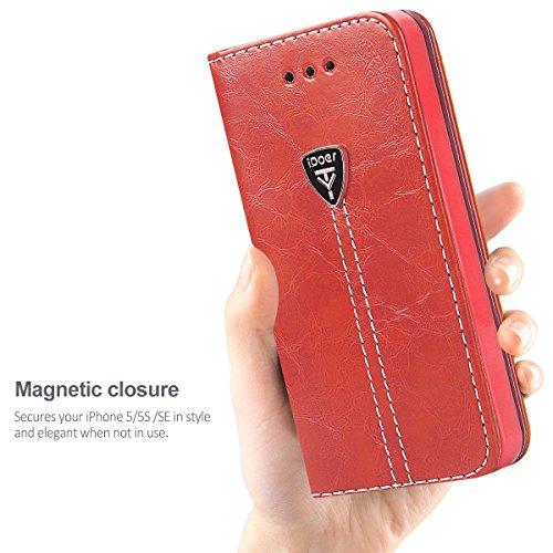iPhone 5 Hülle,Hochwertig handyhülle iPhone 5 mit klappe tasche handyhuelle schutzhülle Handys Schutz Hülle PU Leder magnet handytasche bookstyle Flip Case für Apple iPhone 5 5S SE mit Ständer - Grau Rot