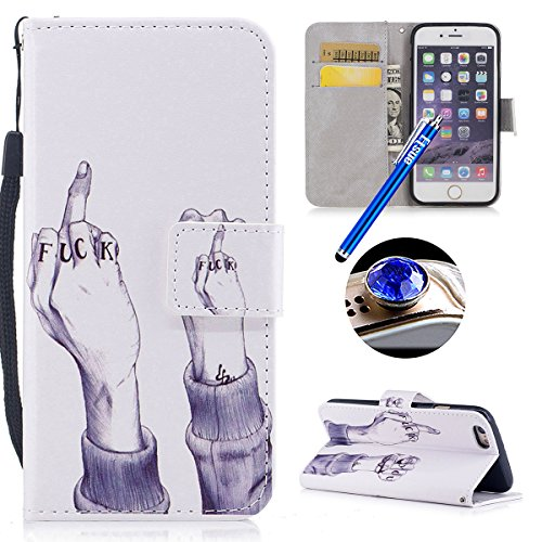 Etsue Leder Tasche Klapphülle für iPhone 6S/iPhone 6 Bunt Muster Lederhülle Leder Flip Hülle Schutzhülle Handytasche Brieftasche Hülle, iPhone 6S/iPhone 6 Lanyard Strap Vintage Ledertasche Handyhülle  Finger