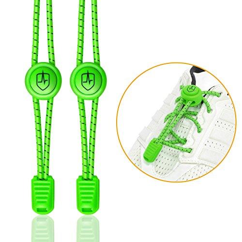 High Pulse Cordones Elasticos para Zapatillas / Un par de cordones elásticos ajustables con cierre rapido para un agarre seguro y comodo (Verde eléctrico)