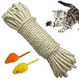 Yangbaga Natural Sisal Seil 6mm Ersatz Alte DIY Zubehör String ideal für den Austausch Katze Baum Griffoir (20 m, weiß)