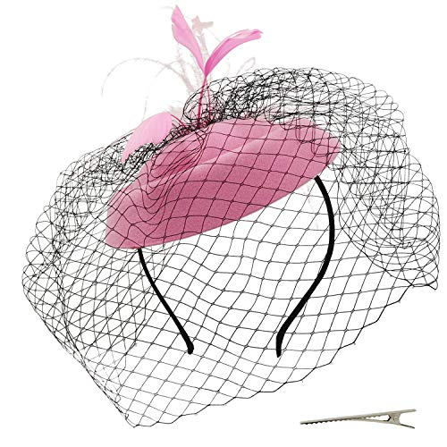 Umeepar Damen Pillbox Fascinator Hut Hochzeit Tea Party Hüte mit Federn Schleier Stirnband Clip (Rosa) Damen-tea-party
