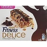 Nestlé Fitness Delice Chocolat Noir - Barres de Céréales - 6 Barres de 22,5 g