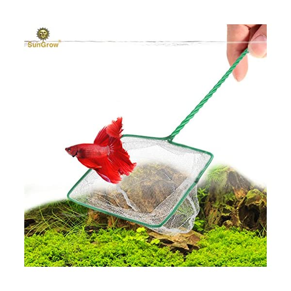 SunGrow Betta Net, 5×4 Inches with 11 Inches Handle, Anti-Stress, Extra Soft Nylon Net, Easy Routine Tank Maintenance…