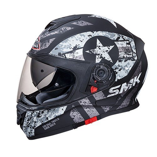 SMK MA266 Twister Captain Graphics Pinlock Fitted Full Face Helmet With Clear Visor (Matt Black and Grey, XL)