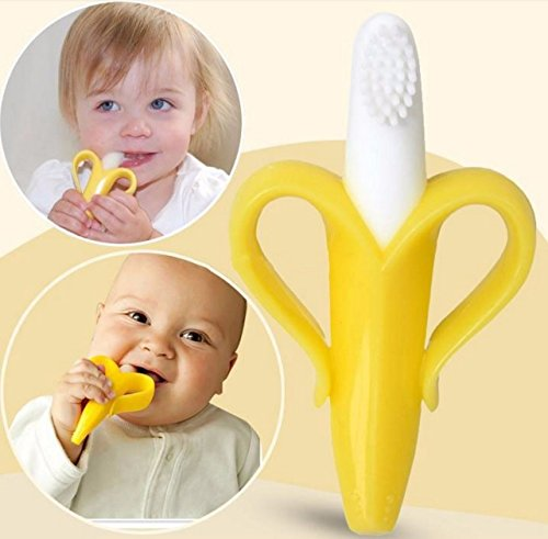 Singular Baby Banana Shaped Silicon Toothbrush, Yellow