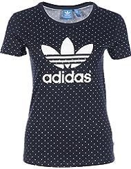 adidas Trefoil Tee AOP - Camiseta para mujer, color negro / blanco, talla 32