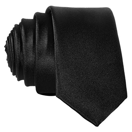 Schmale schwarze Krawatte - von Hand gefertigt uni einfarbig - Schwarze Seide Krawatte