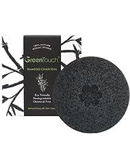 GreenTouch Eponge faciale Konjac toute naturelle avec du Charbon Activé de Bambou | Enlever le Gras & l'Exfoliant | Améliorer la texture | Nettoyage en profondeur en forme de rond | Fibre de plante 100% biodégradable | Noir