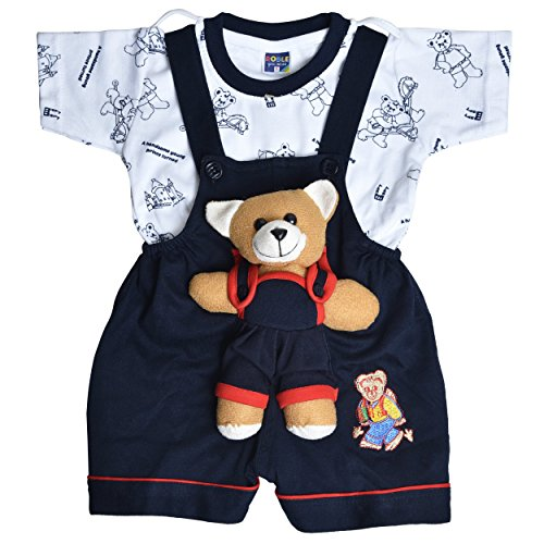 Roble Party Wear Romper Baba Suit Dungree Jumpsuit Blue Outfits For Newbron Babies Boys & Girls 6 Months -2 Years (0-6 Months)
