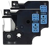 2 Kassetten D1 40916 schwarz auf blau 9mm x 7m Schriftband kompatibel für DYMO LabelManager LM 100, 110, 120P, 150, 155, 160, 200, 210D, 220P, 260, 260D, 280, 300, 350, 350D, 360D, 400, 420P, 450, 450D, 500TS, PC, PC2, PnP, PnP Wireless, LabelPoint LP 100, 150, 200, 250, 300, 350, LabelWriter LW 400 Duo, 450 Duo Beschriftungsgerät