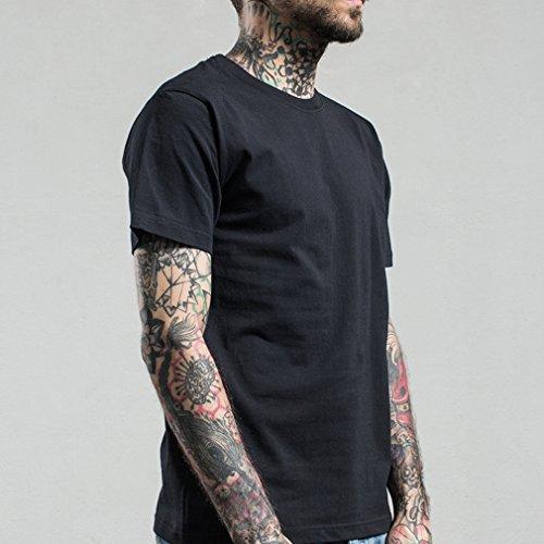 Honghu Herren Crew Neck Short Sleeve T-shirt Schwarz