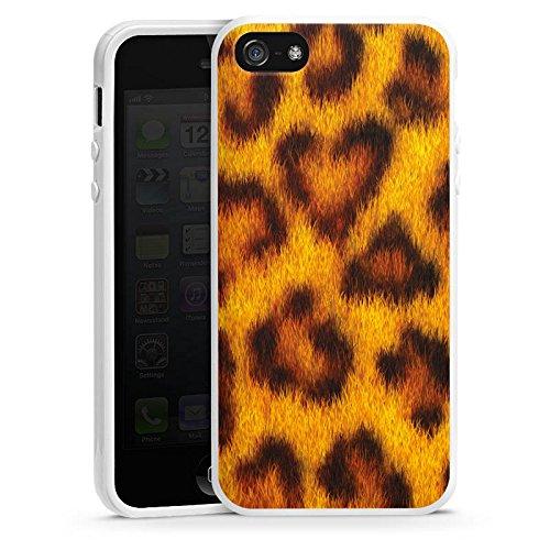 Apple iPhone 5s Housse Étui Protection Coque Look léopard Fourrure Animaux Housse en silicone blanc