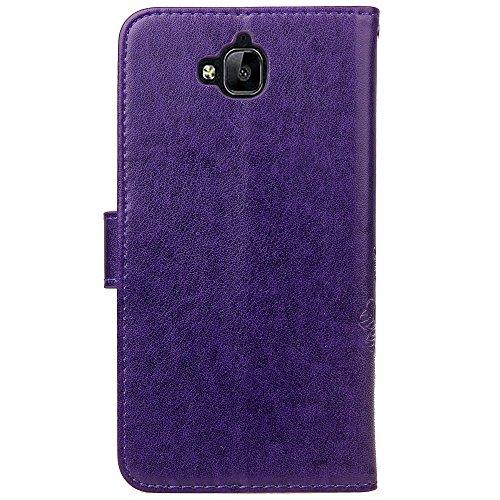 EKINHUI Case Cover Double Magnetic Back Sucktion Retro Style PU Leder Flip Stand Case mit Kickstand und Wallet Beutel Funktion für Huawei Y6 Pro ( Color : Rose ) Purple