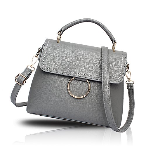 Tisdaini Il raccoglitore delle borse di cuoio dell'unità di elaborazione del sacchetto del messaggero della spalla del sacchetto quadrato della borsa delle nuove donne adotta Grigio scuro