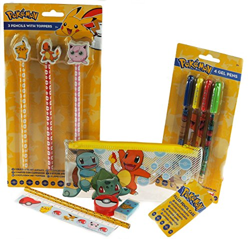 Pokemon 3 Piece School Set - Gel Pens, Pencils And Filled Pencil Case