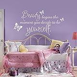 mairgwall Kinderzimmer Zitat Vinyl Beauty beginnt der Moment Sie entscheiden selbst zu sein Schlafzimmer Wand Grafiken, Vinyl, Customized-colors, 29