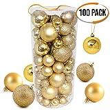 The Twiddlers 100 Gold Christbaumkugeln - christbaumkugeln - Verschiedene Größen - Weihnachtsbaum deko, Baumdekoration Christbaumschmuck.