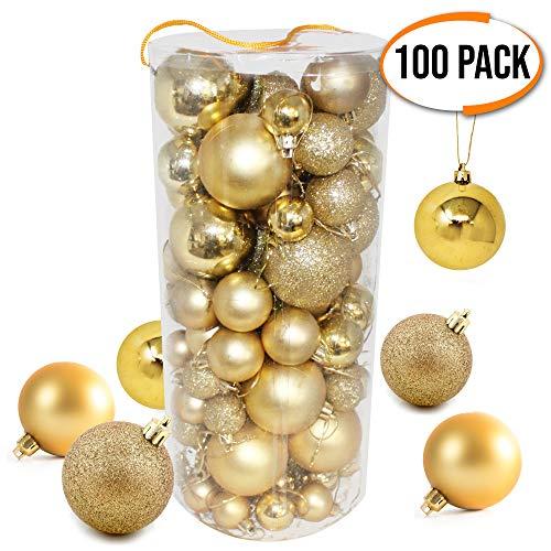 The twiddlers 100 palline di natale oro di alta qualità - palle dorate finiture e dimensioni assortite - ideale per creare quella perfetta decorazioni per l'albero di natale