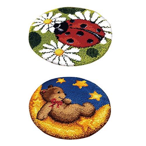 IPOTCH 2 Stück Knüpfteppich Formteppich für DIY Handarbeit Teppich mit schöne Bilder- Marienkäfer und Bär