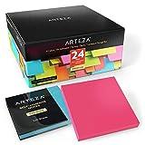 ARTEZA Boîte bloc note post it 76 x 76 mm | 24 x carnet de notes | 100 post it notes par bloc papier | Memo papier couleur autocollant repositionnable | Pense-bête | Marque-pages | Sticky notes