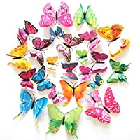 12 P C S 3 D Colorful Butterfly Wall Stickers DIY Art Decor Crafts For Nursery Classroom Offices Kids Girl Boy Baby Bedroom Bathroom Living Room Magnets And Glue Sticker Set
