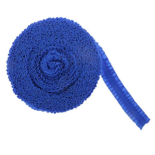 P Prettyia 1 Rollo Banda Elástica de Costura 15mm de Ancho Encajes y Puntillas - Azul