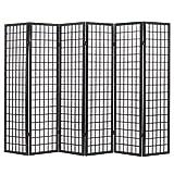 vidaXL Biombo Plegable con 6 Paneles Estilo Japonés 240x170cm Negro Decoración