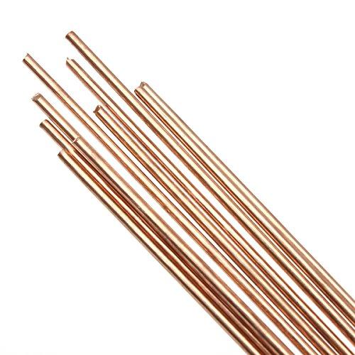 MASUNN 10Pcs 1.6 X330mm Hscu Rojo Cobre Sólido Ronda De Bronce De Gas Rod Para Clavar El Corte
