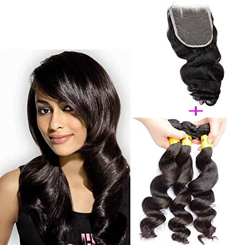 Queengirl Virgin Haarverlängerungen, Malayisches Haar, mit Verschluss, 3 Bündchen, lockerer Welle - Virgin Kunststoff Natur