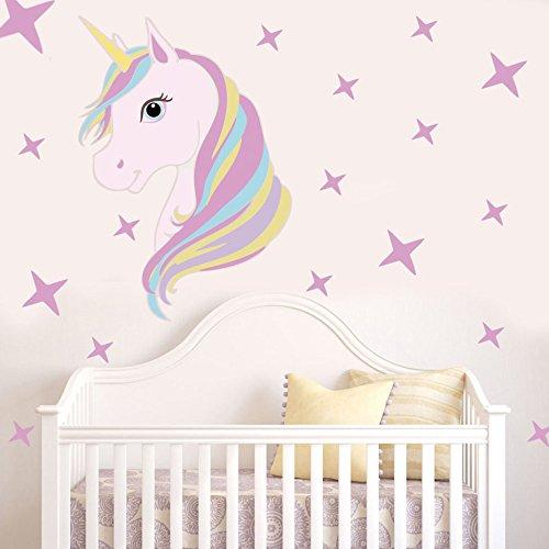 Pegatinas mix unicornios vinilo pared o cristal de colores pasteles decoracion cool cabeceros cunas, habitaciones,dormitorios cuartos juego NOVEDAD 2018 de CHIPYHOME