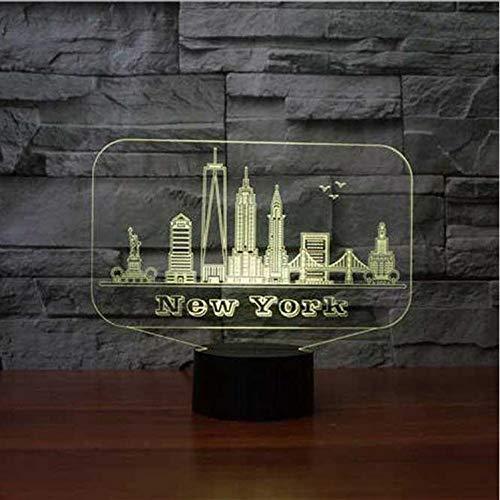 Nueva York Edificio 3D Led Nightlight 7 Colores Lámpara De Mesa Lámpara De Mesa Lampara Regalos Conmemorativos Bebé Sueño Iluminación Decoración