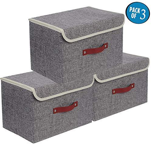 Cajas de almacenaje,Set de 3 Cajas de Almacenaje Cubos de Tela Organizador Plegable con Tapa y Ventana de Etiqueta 38 x 25 x 25 cm
