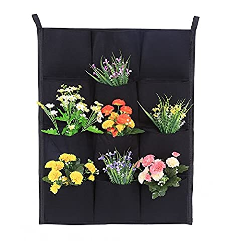 Vertical Wall Garden Planter 7/12/16/18 Pockets Wall-mounted Plant Grow Container Bags Living Felt Wall Hanging Planter For Indoor Outdoor, Black ( Size : 12-Pocket )