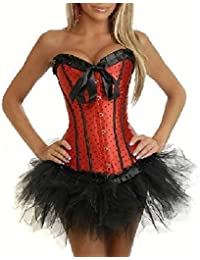 JL Corset Gothic Lady Dot Lace up Corset Bustier Top Tutu Skirt Clubwear Party Dress
